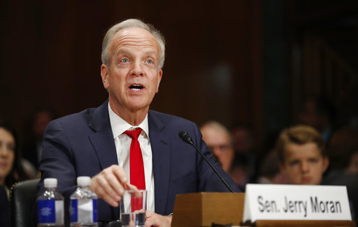 Sen. Jerry Moran, R-Kan., testifies during a Senate Judiciary Committee hearing on nominations on Capitol Hill in Washington, Wednesday, Nov. 15, 2017. (Carolyn Kaster/AP)