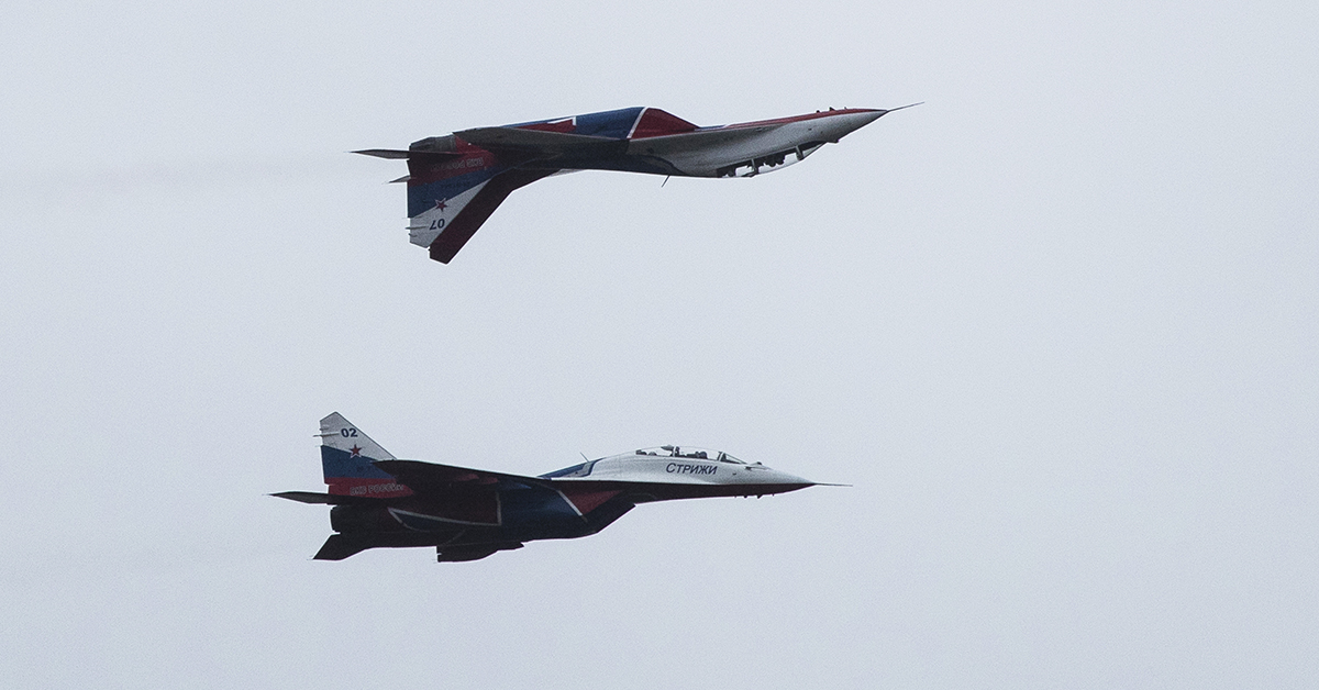 Russian Swifts aerobatic team's MiG-29 jets perform during the International Military Technical Forum Army-2018 in Alabino, outside Moscow, Russia, Saturday, June 29, 2019. (AP Photo/Pavel Golovkin)