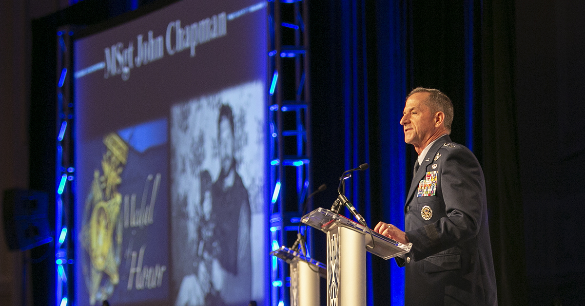 Gen. David Goldfein talks about Medal of Honor recipient Air Force Tech. Sgt. John Chapman during his Air Force update at the Air Force Association's Air, Space & Cyber conference held at the Gaylord National Resort & Conference Center in Oxon Hill, MD. (Alan Lessig/Staff)