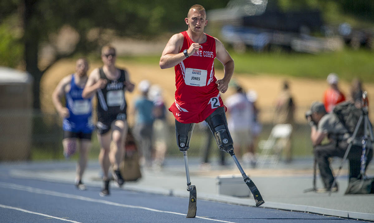 Marine Corps veteran Robert Jones, a native of Lovettsville, Virginia, competes in the 2018 DoD Warrior Games Track Competition at the U.S. Air Force Academy in Colorado Springs, Colorado, June 2, 2018. (Cpl. Julien Rodarte/Marines)