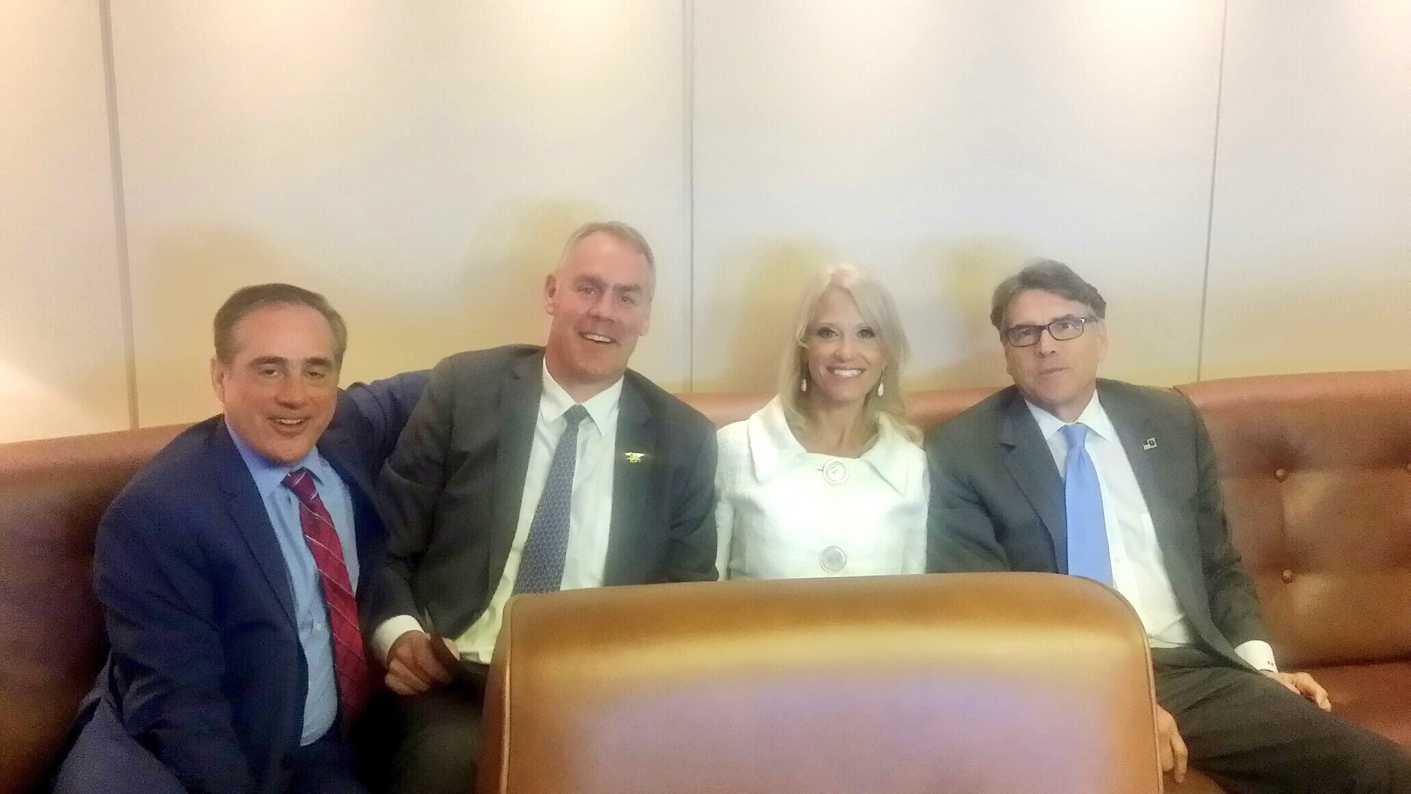 From left: VA Secretary David Shulkin, Interior Secretary Ryan Zinke, White House adviser Kellyanne Conway and Energy Secretary Rick Perry. (Interior Secretary Ryan Zinke via Twitter)