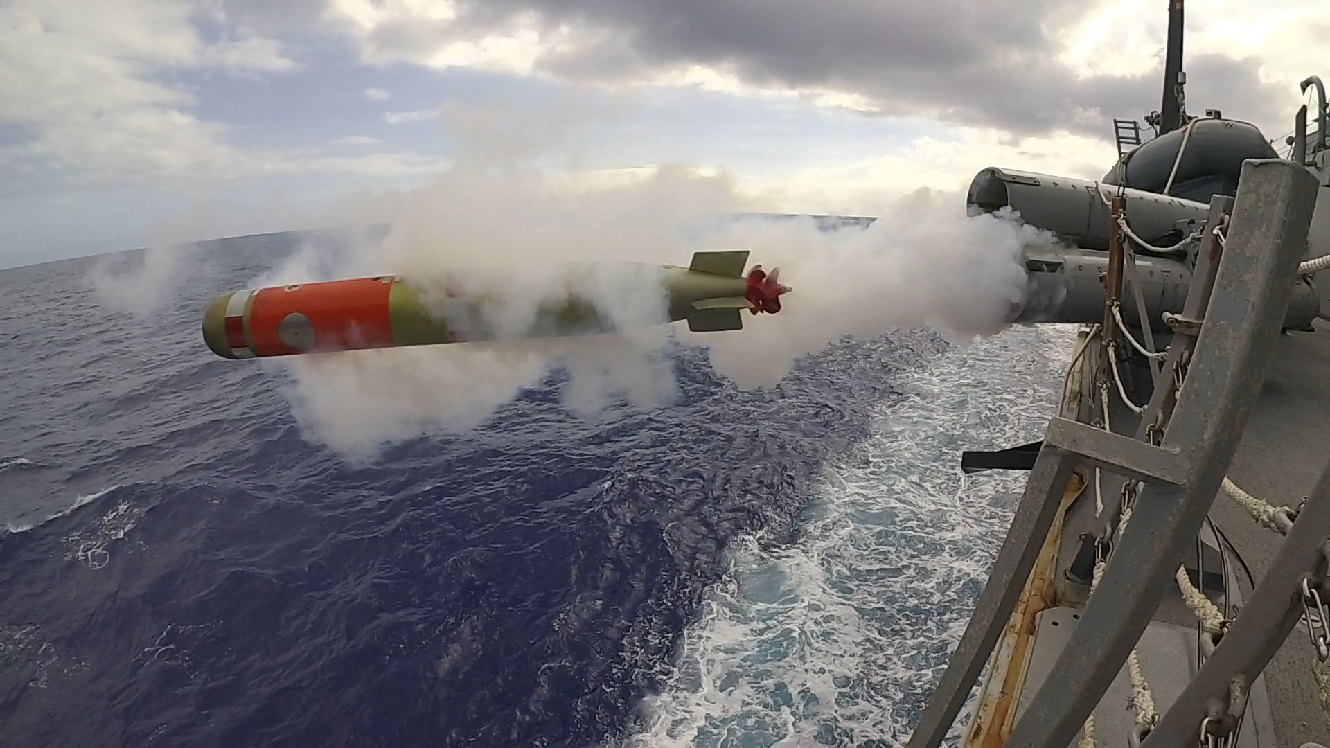 A mark 46 shallow water exercise torpedo is fired from the weather deck of the Arleigh Burke-class guided-missile destroyer USS McCampbell (DDG 85) while operating in the Philippine Sea on March 12, 2019, during a live-fire exercise. (Mass Communication Specialist 2nd Class John Harris/Navy)
