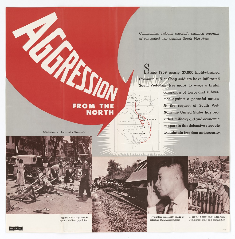 "A 1965 policy paper titled ""Aggression from the North"" described the justification for America's intervention in Vietnam. It portrayed the war as an invasion by the North Vietnamese with Moscow pulling the strings. Critics insisted it was a civil war instigated by independent actors in the south. (National Archives/U.S. Information Agency)"