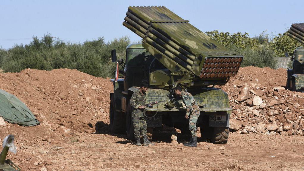 Syrian Army soldiers man a rocket-artillery vehicle as regime forces take up positions on the front line with Turkey-backed fighters near the northern city of Manbij, on November 2, 2019. - Damascus clinched a deal last month with Kurdish forces that saw Syrian army troops deploying in parts of the Kurdish-run northeast, including the key areas of Manbij and Kobane. The deployment is the most significant by the army since it began a large-scale pullout from the region in 2012. (Photo by - / AFP) (Photo by -/AFP via Getty Images)