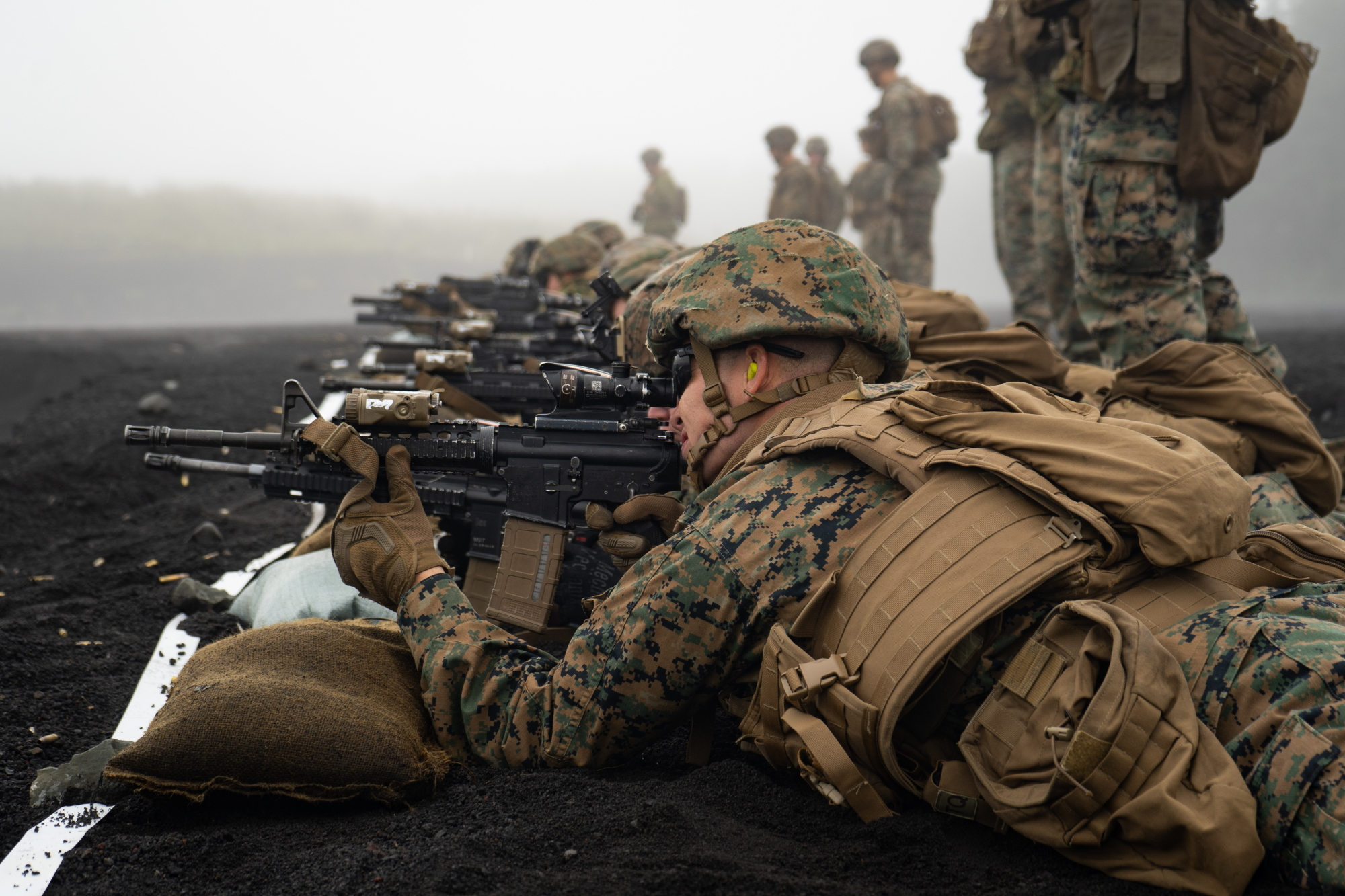Marine Corps 1st Lt. Zachary Scalzo participates in a combat marksmanship range during exercise Fuji Viper 20.1 at Camp Fuji, Japan, Oct. 16, 2019. (Cpl. Timothy Hernandez/Marine Corps)
