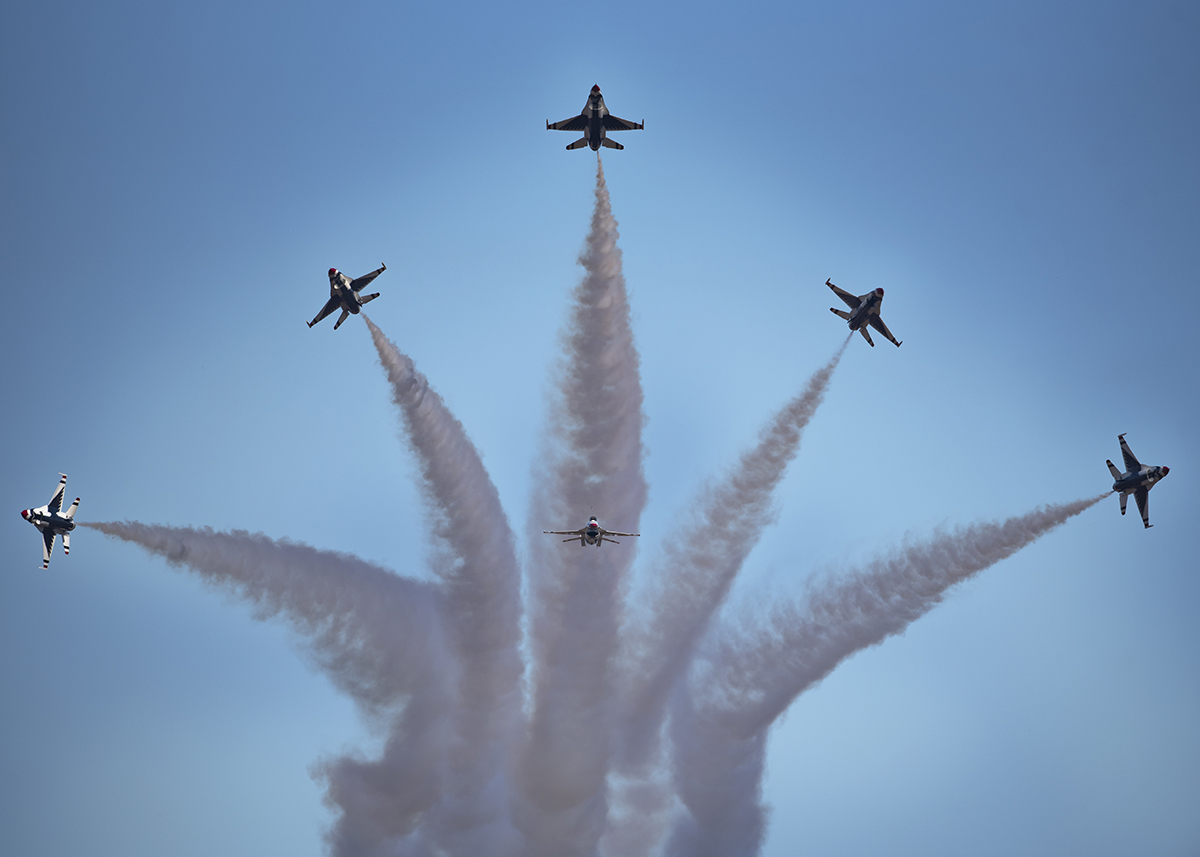 "The U.S. Air Force Air Demonstration Squadron ""Thunderbirds"" perform at the Guardians of Freedom Air Show at Sheppard Air Force Base, Texas, Oct. 26, 2019. (Airman 1st Class Pedro Tenorio/Air Force)"