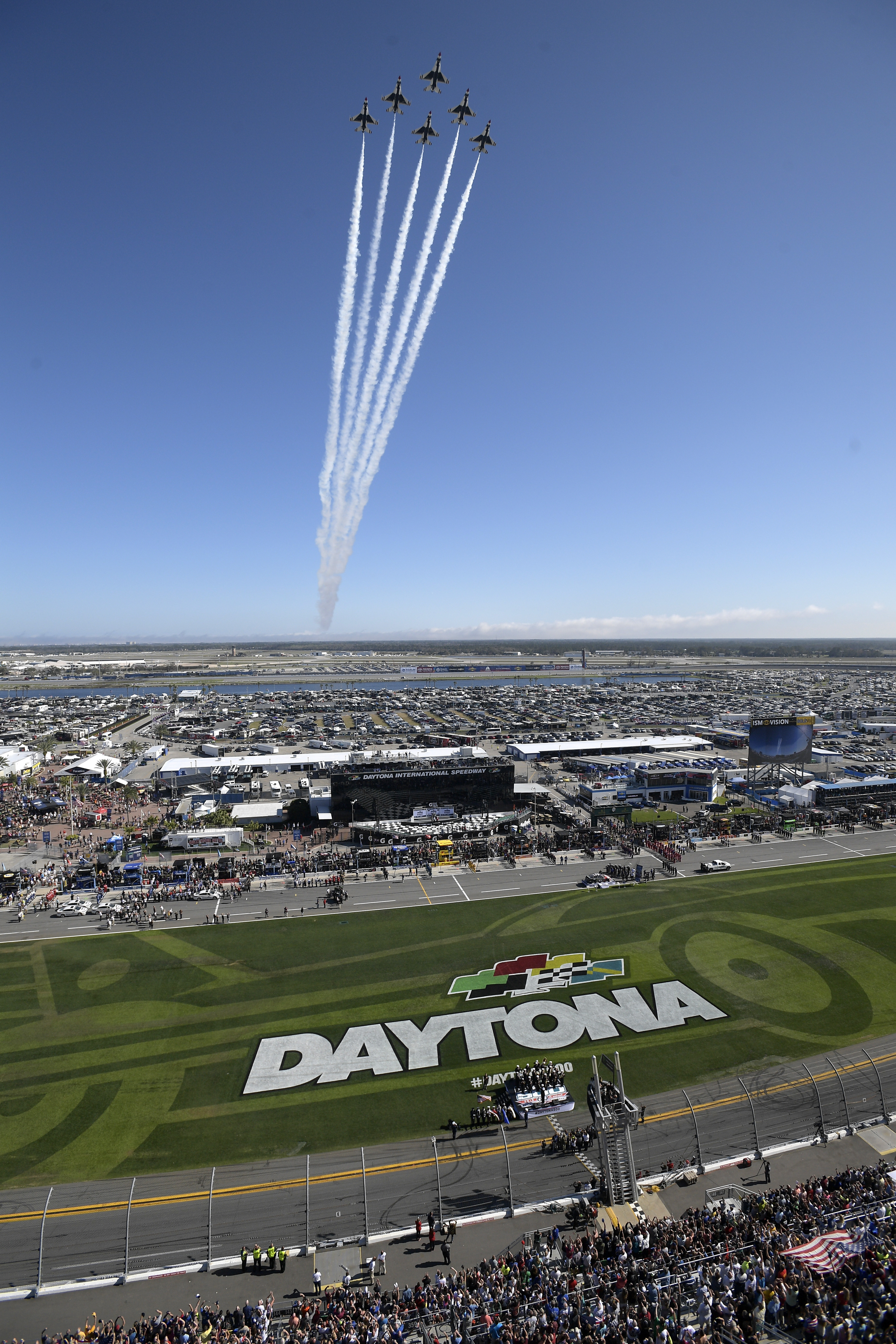 The U.S. Air Force Thunderbirds perform a flyover during the national anthem before the NASCAR Daytona 500 auto race at Daytona International Speedway Sunday, Feb. 18, 2018, in Daytona Beach, Fla. (Phelan M. Ebenhack/AP Photo)