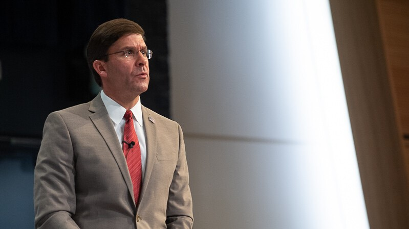 U.S. Secretary of Defense Mark Esper speaks to students of the Naval War College in Newport, R.I., on Aug., 27, 2019. (Staff Sgt. Brandy N. Mejia/Defense Department)