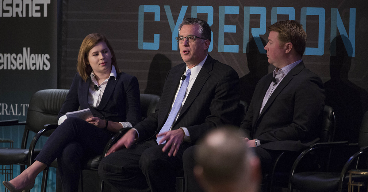 Jessie Bur, Sr. Reporter for Federal Times with Jim Piche, Homeland Security director, FEDSIM, General Services Administration and Greg Wigton, program manager, Cyber Security Division, Science and Technology Directorate, Dept. of Homeland Security, speaks during the Acquisition Innovation panel at Cybercon 2017 at the Ritz-Carlton Hotel in Pentagon City on Nov. 28, 2017. ( Ben Murray/Staff)
