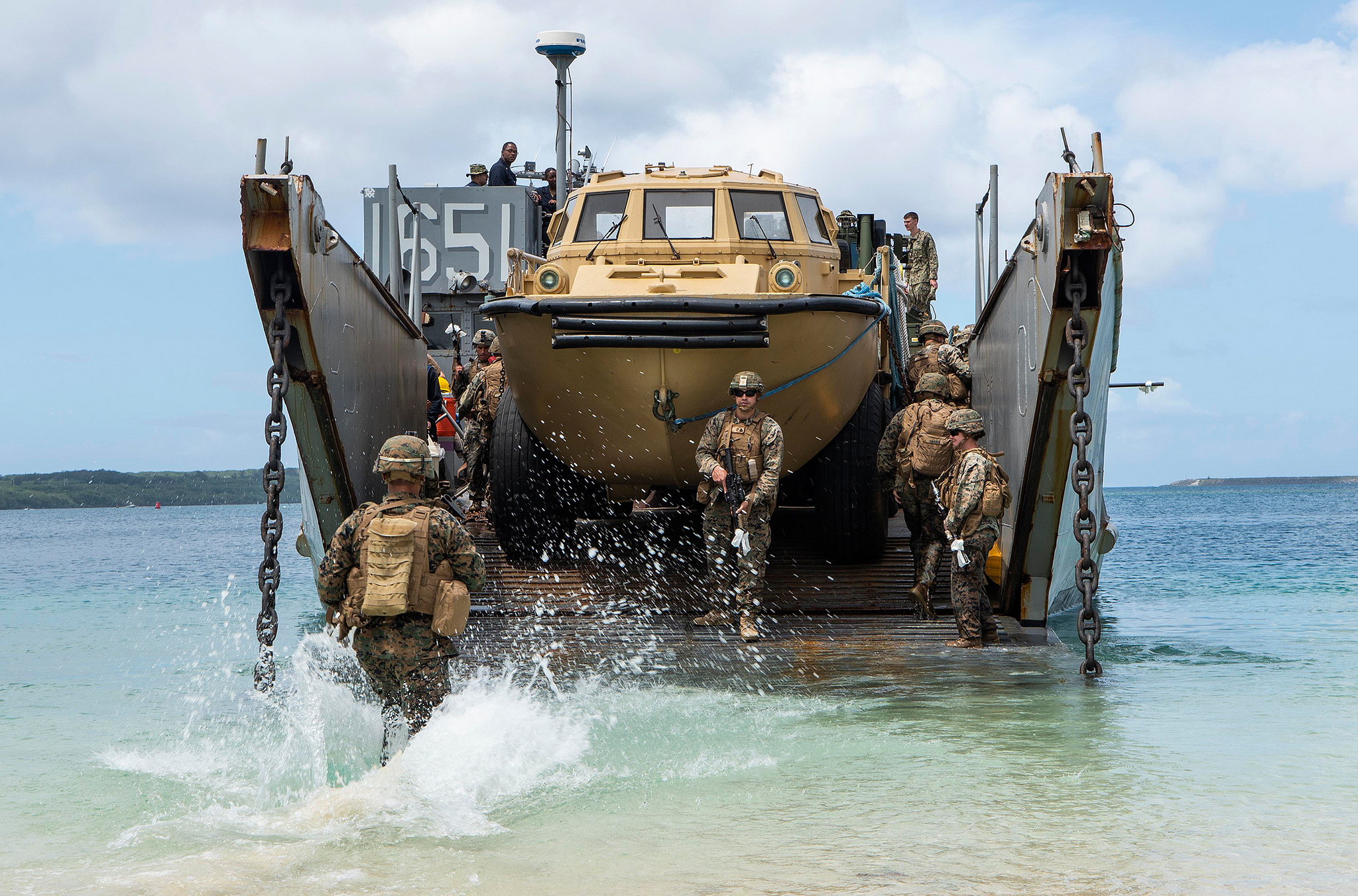 Marines simulate a beach raid on March 12, 2019, in Apra Harbor, Guam. (Mass Communication Specialist 2nd Class Anaid Banuelos Rodriguez/Navy)