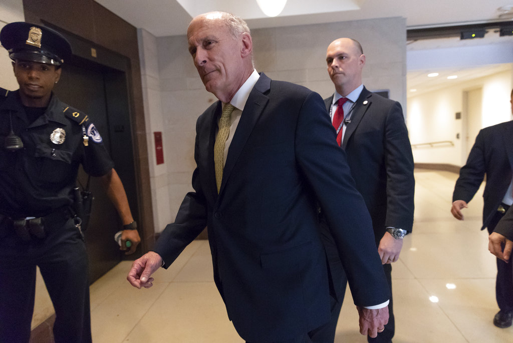 In this May 24, 2018, file photo, Director of National Intelligence Dan Coats arrives as House and Senate lawmakers from both parties gather for a classified briefing in a secure room about the federal investigation into President Donald Trump's 2016 campaign, on Capitol Hill in Washington. (J. Scott Applewhite/AP)