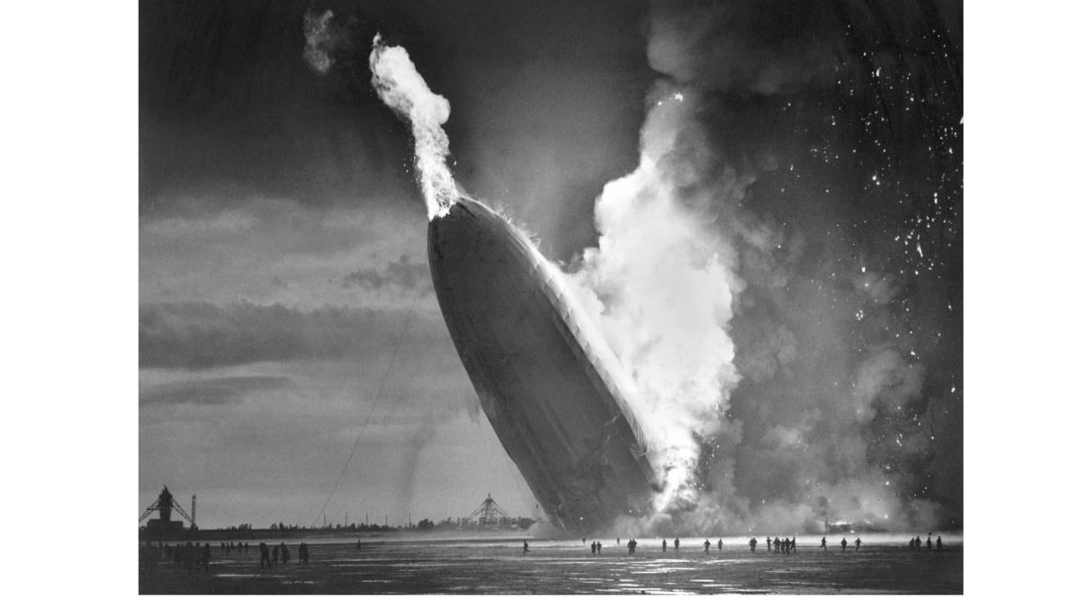On May 6, 1937, the German dirigible Hindenburg crashed to earth in flames after exploding at the U.S. Naval Station in Lakehurst, N.J. Werner Gustav Doehner, the last survivor of the disaster, died Nov. 8, 2019 at age 90 in Laconia, N.H. (Murray Becker/AP)