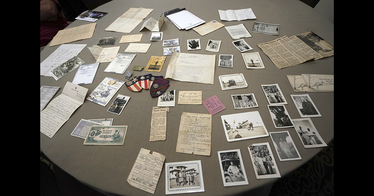 Memorabilia from the famed WWII Army unit Merrill's Marauders is displayed on a table during a gathering of remaining members, family and history buffs, in New Orleans, Tuesday, Aug. 28, 2018. (Gerald Herbert/AP)