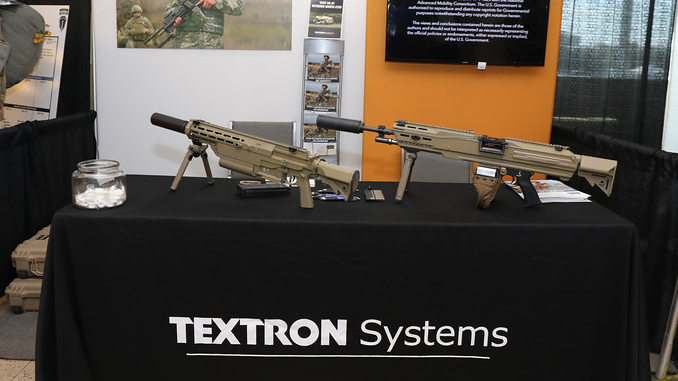 Textron showcased its two prototypes for the NGSW program at the 2019 Maneuver Warfare Conference (U.S. Army photo by Markeith Horace, Maneuver Center of Excellence, Fort Benning Public Affairs Office)