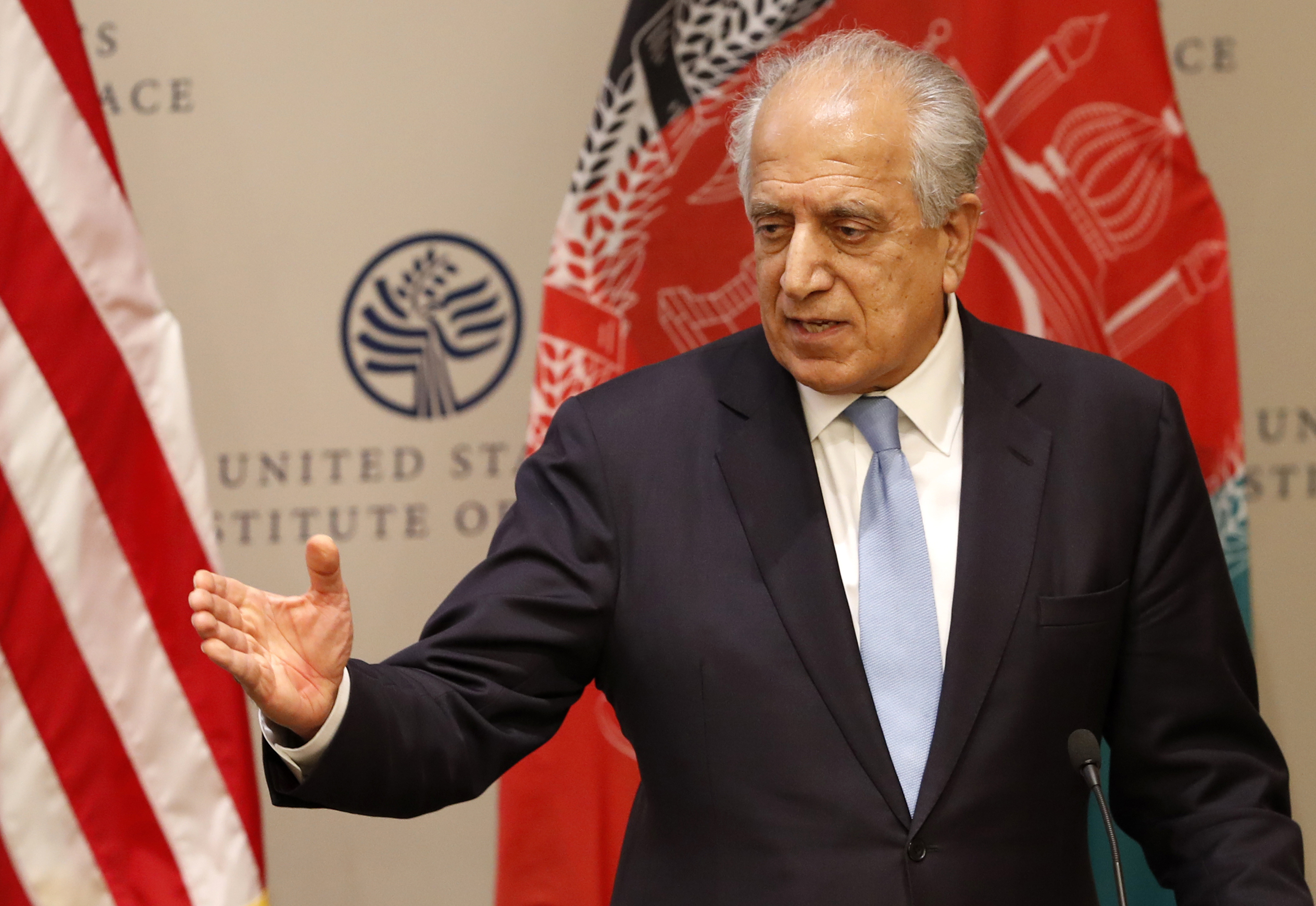 In this Feb. 8, 2019, file photo, Special Representative for Afghanistan Reconciliation Zalmay Khalilzad speaks on the prospects for peace at the U.S. Institute of Peace, in Washington. (Jacquelyn Martin/AP)