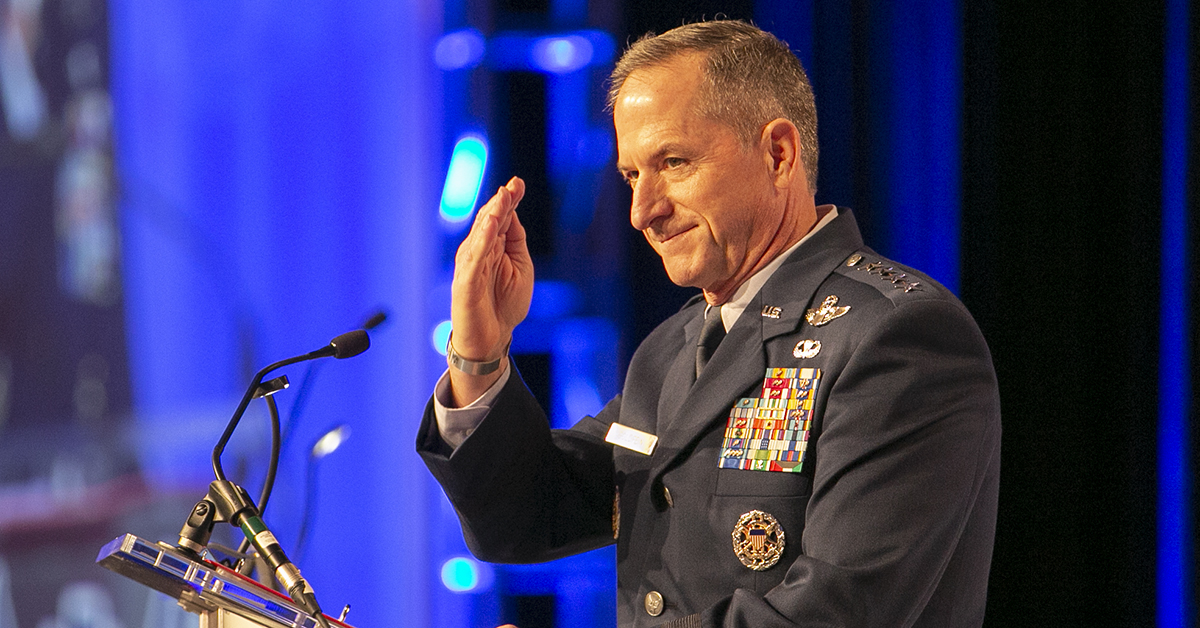 Air Force Chief of Staff Gen. David Goldfein salutes after being introduced to give his Air Force update during the Air Force Association's Air, Space & Cyber conference held at the Gaylord National Resort & Conference Center in Oxon Hill, MD. (Alan Lessig/Staff)