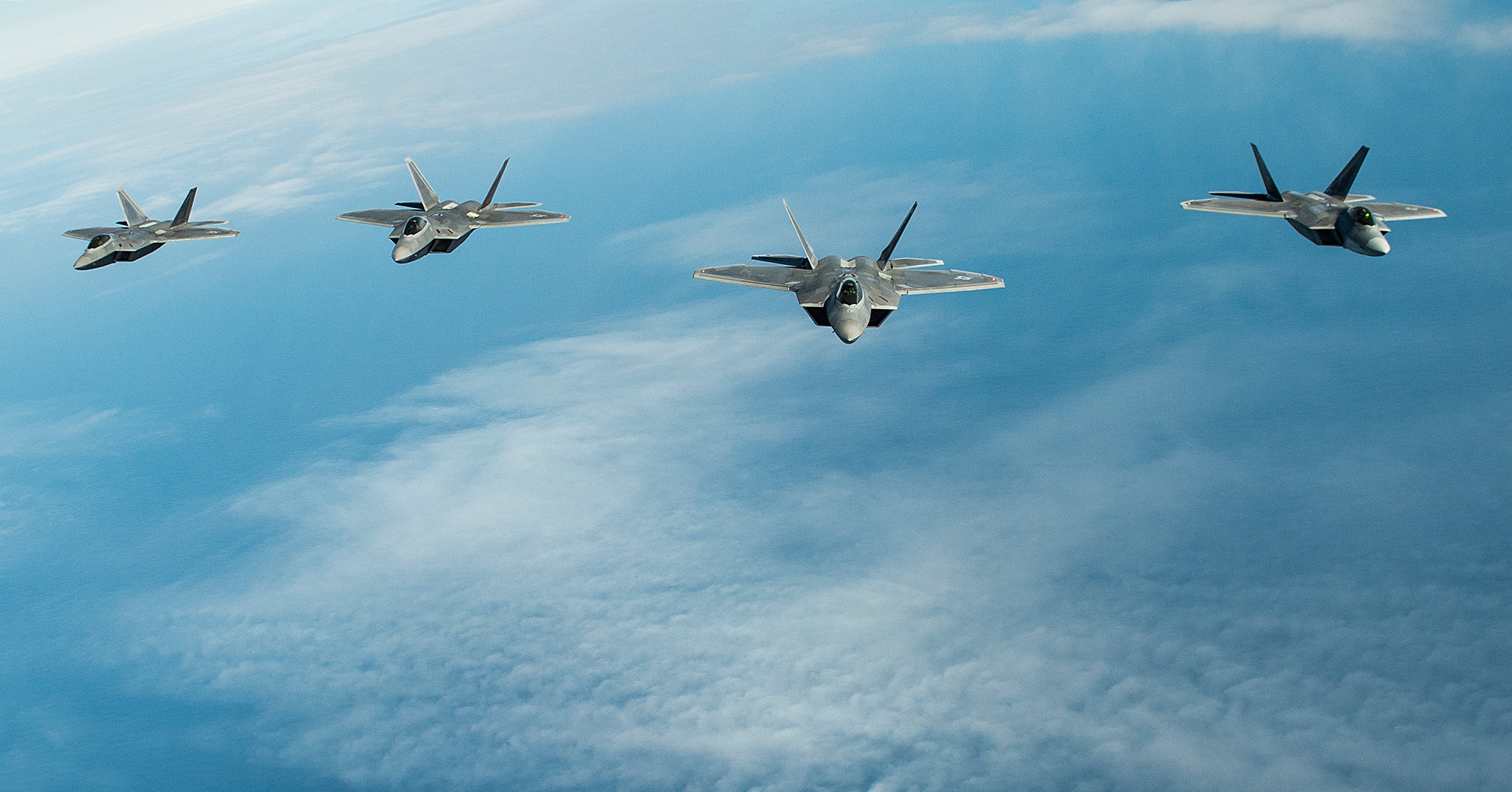 U.S. Air Force F-22 Raptors fly over Alaska during Northern Edge, May 14, 2019, at Joint Base Elmendorf-Richardson. (Master Sgt. Nathan Lipscomb/Air Force)