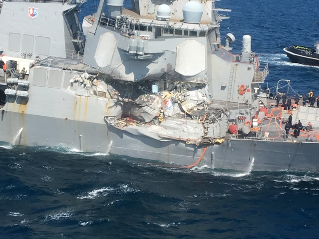 The stricken warship Fitzgerald as it makes its way back to land following a June 17, 2017, collision that killed seven sailors. (Photo provided to Navy Times)