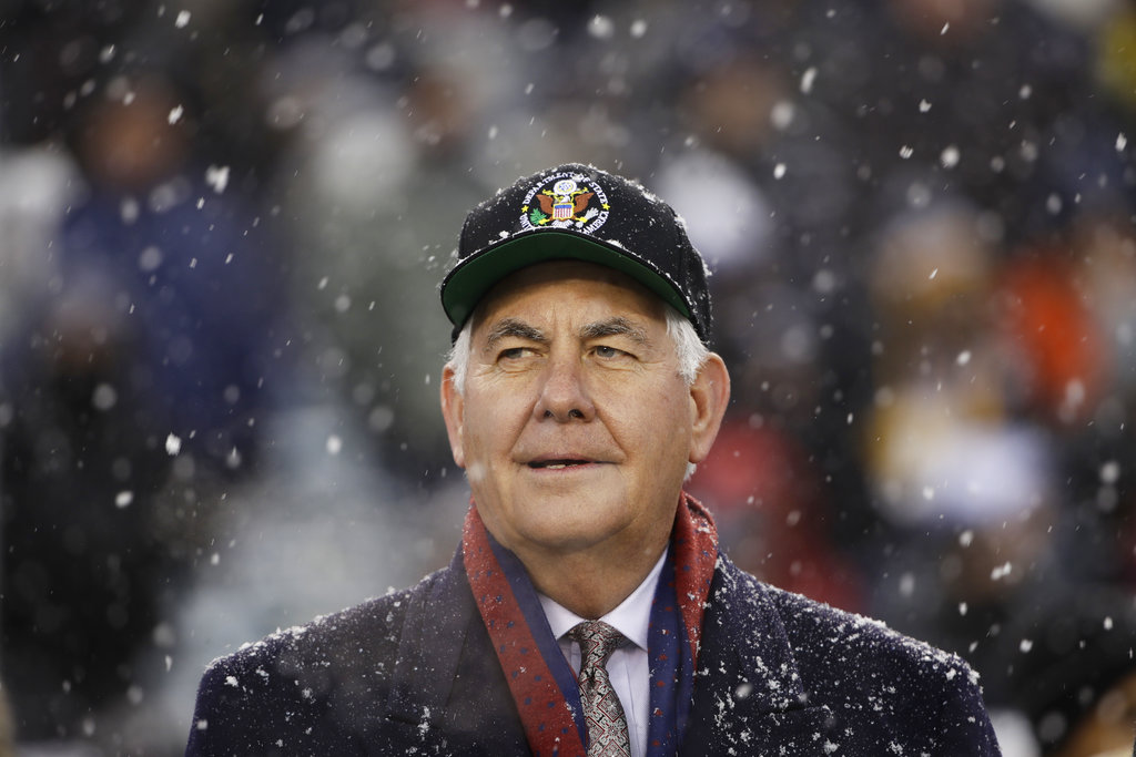 Secretary of State Rex Tillerson waits to perform the coin toss ahead of Saturday's Army-Navy game. (Matt Rourke/AP)