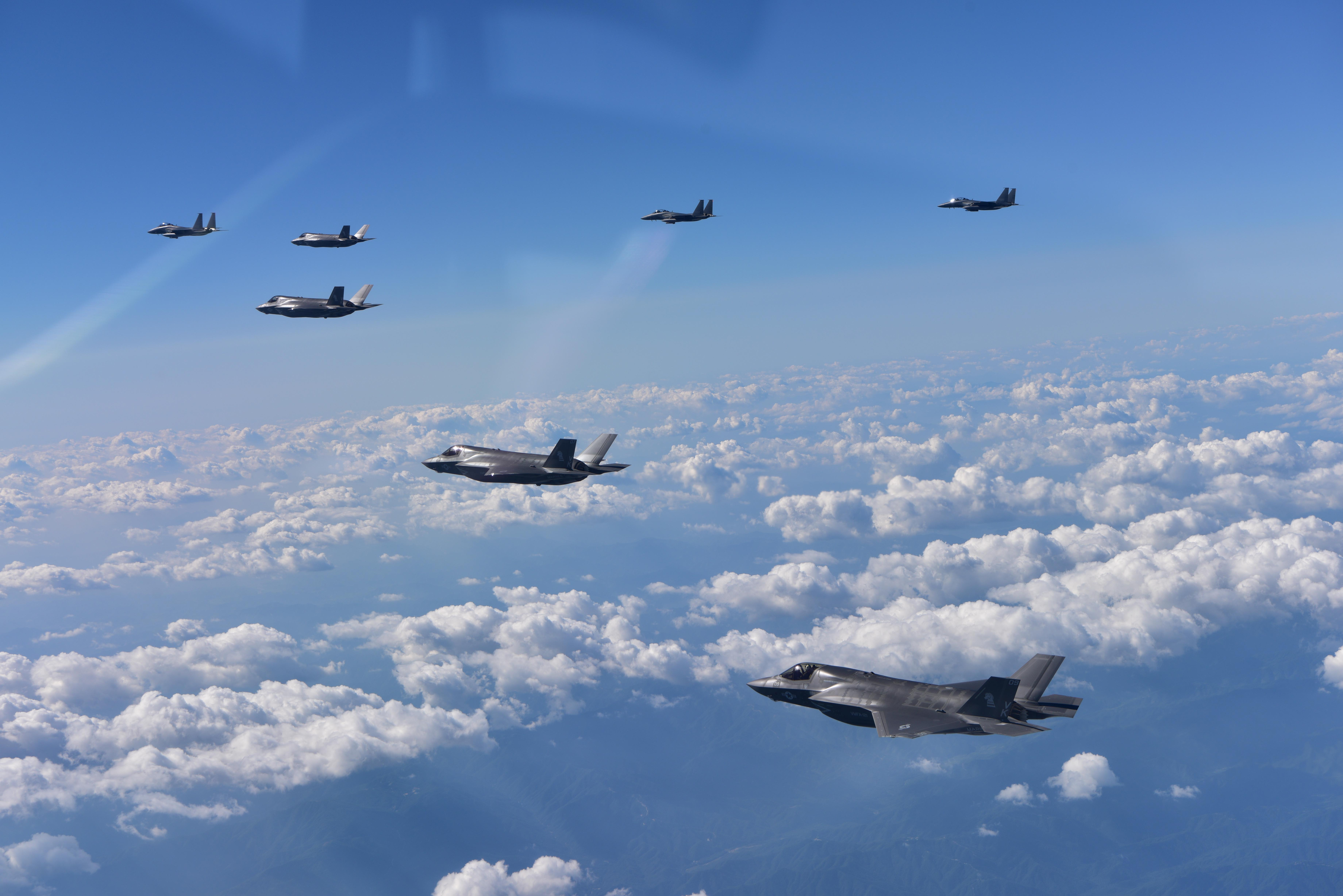 In a demonstration of U.S. commitment to its allies, U.S. Marine Corps F-35B Lightning II fighters assigned to Marine Corps Air Station Iwakuni, Japan, are joined by South Korean Air Force F-15K fighters during a 10-hour mission from Andersen Air Force Base, into Japanese airspace and over the Korean Peninsula on Aug. 30, 2017. (South Korea Defense Ministry via AP)