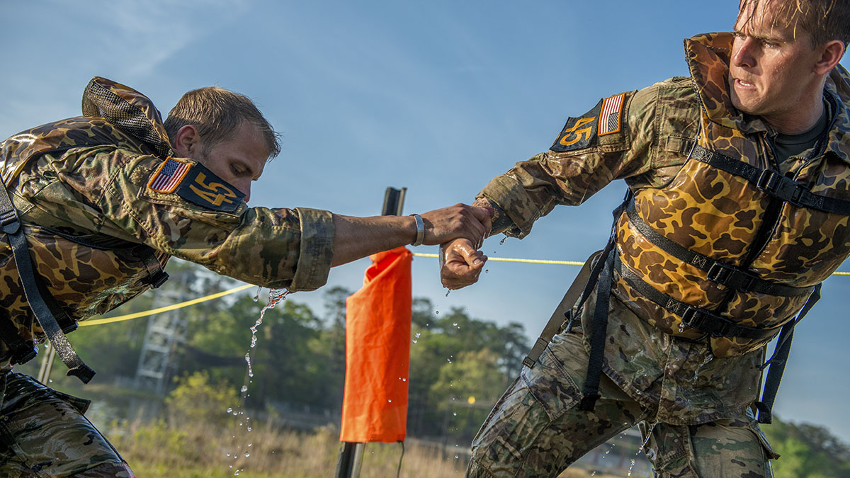 FORT BENNING, Ga. (April 13, 2018) Ð Fifty two-person teams of Ranger-qualified Soldiers and one team of Ranger-qualified Coast Guardsmen take part in several events to test physical endurance, mental agility, and technical and tactical skills for the 2018 Best Ranger Competition April 13 at Fort Benning, Georgia. The David E. Grange Jr. Best Ranger Competition is an annual event in its 35th iteration to determine the top-performing two-person Ranger team from units across the Army as well as sister services. (Photos by Patrick A. Albright, MCoE PAO Photographer)