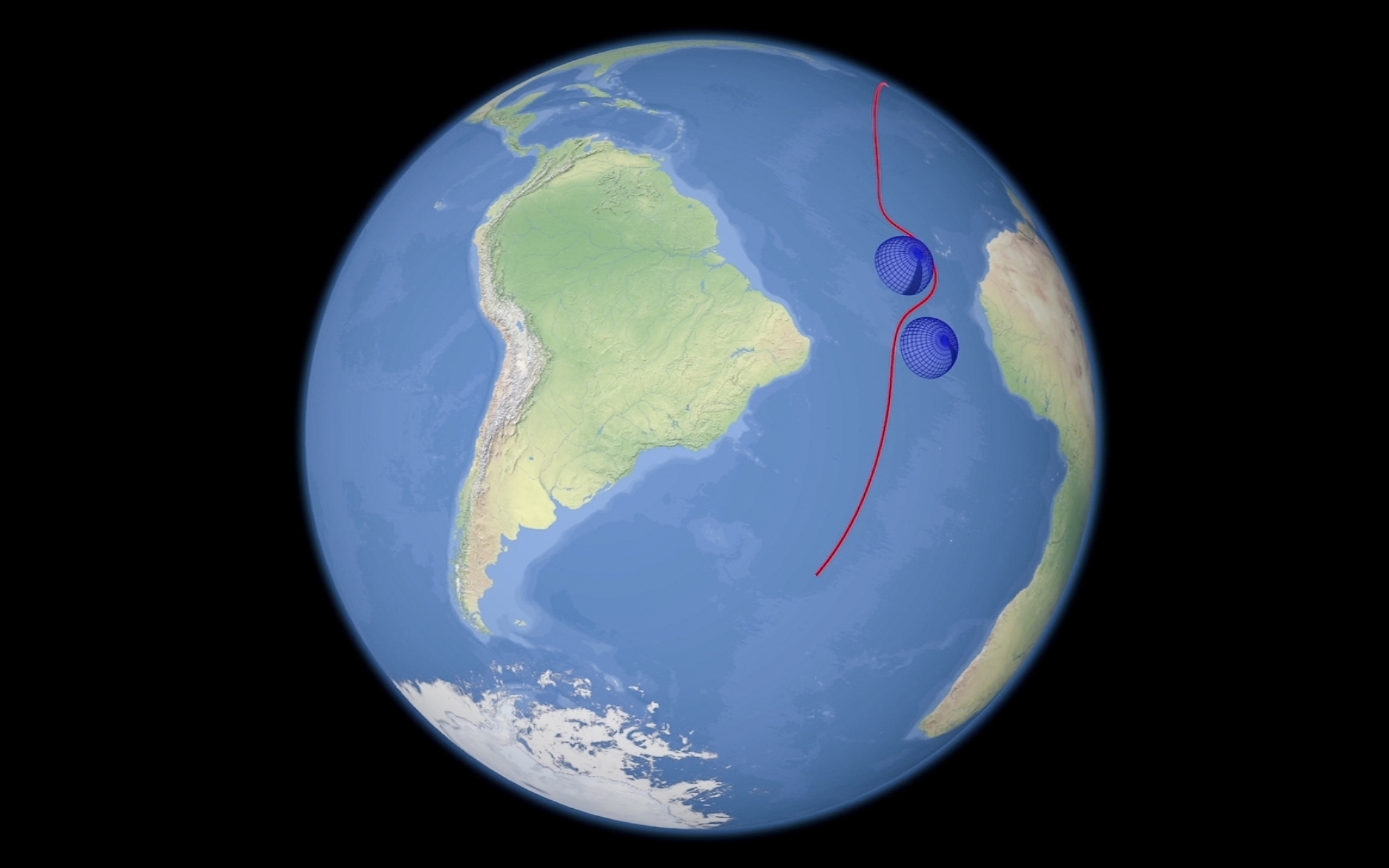 A computer simulation shows the flight of a prospective Russian nuclear-powered cruise missile en route to target. (RU-RTR Russian Television via AP)