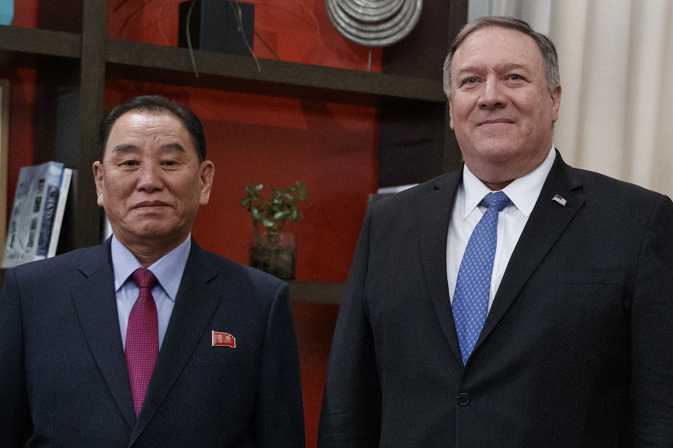 Secretary of State Mike Pompeo, right, and Kim Yong Chol, a North Korean senior ruling party official and former intelligence chief, met at the Dupont Circle Hotel in Washington, Friday, Jan. 18, 2019 to make progress toward a second summit between President Trump and North Korean leader Kim Jong Un. (Carolyn Kaster, AP)