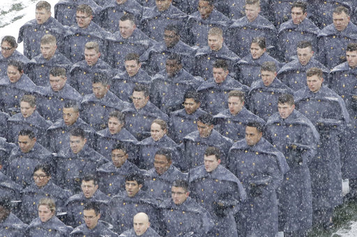 Army cadets brave the snow ahead of Saturday's Army-Navy game. (Matt Rourke/AP)