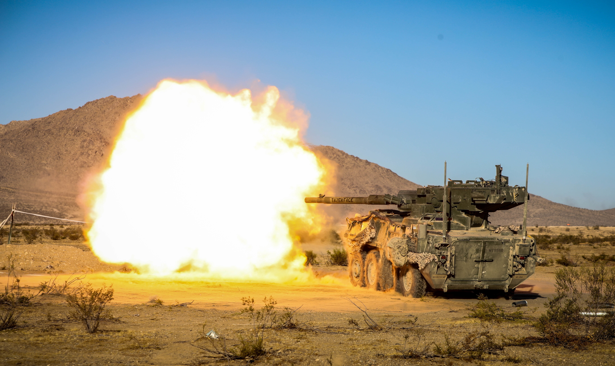 The M1128 Stryker Mobile Gun System assigned to Fort Hood engages simulated enemy targets during live-fire training Nov. 8, 2019, during Decisive Action Rotation 20-02 at the National Training Center in Fort Irwin, Calif. (Spc. Kyler Chatman/Army)