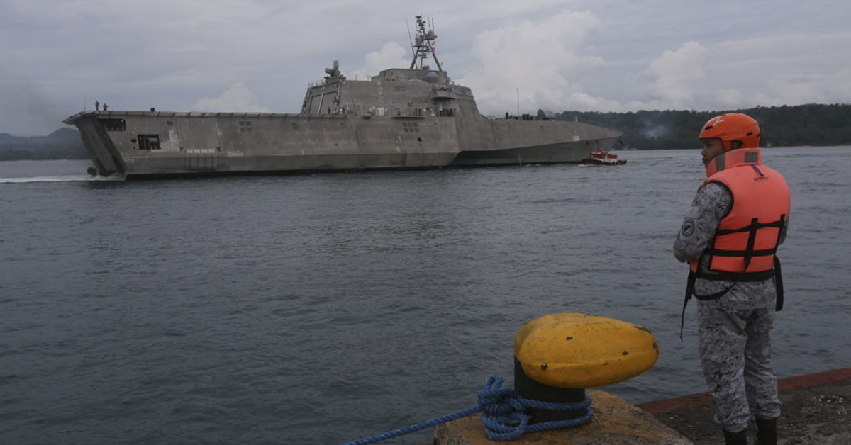 This photo taken on June 29, 2019 shows USS Montgomery (LCS 8), an Independence-class littoral combat ship of the U.S. Navy, in Davao City on the southern island of Mindanao for a port visit. (MANMAN DEJETO/AFP/Getty Images)