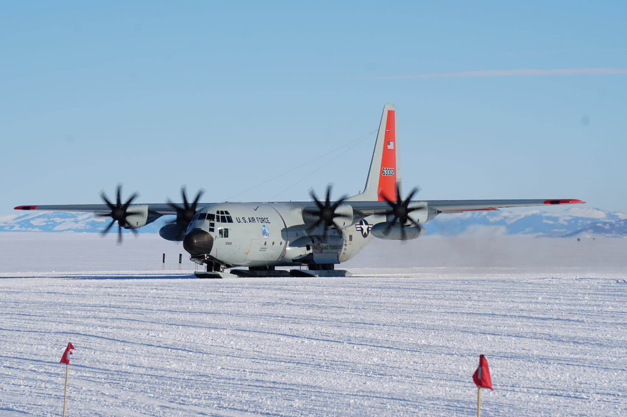 A LC-130 from the 109th Airlift Wing, New York Air National Guard, makes it's first landing at Williams Field Antarctica, kicking off the 2019-2020 season in November 2019 at McMurdo Station. (Garrison Hornick/Air National Guard)