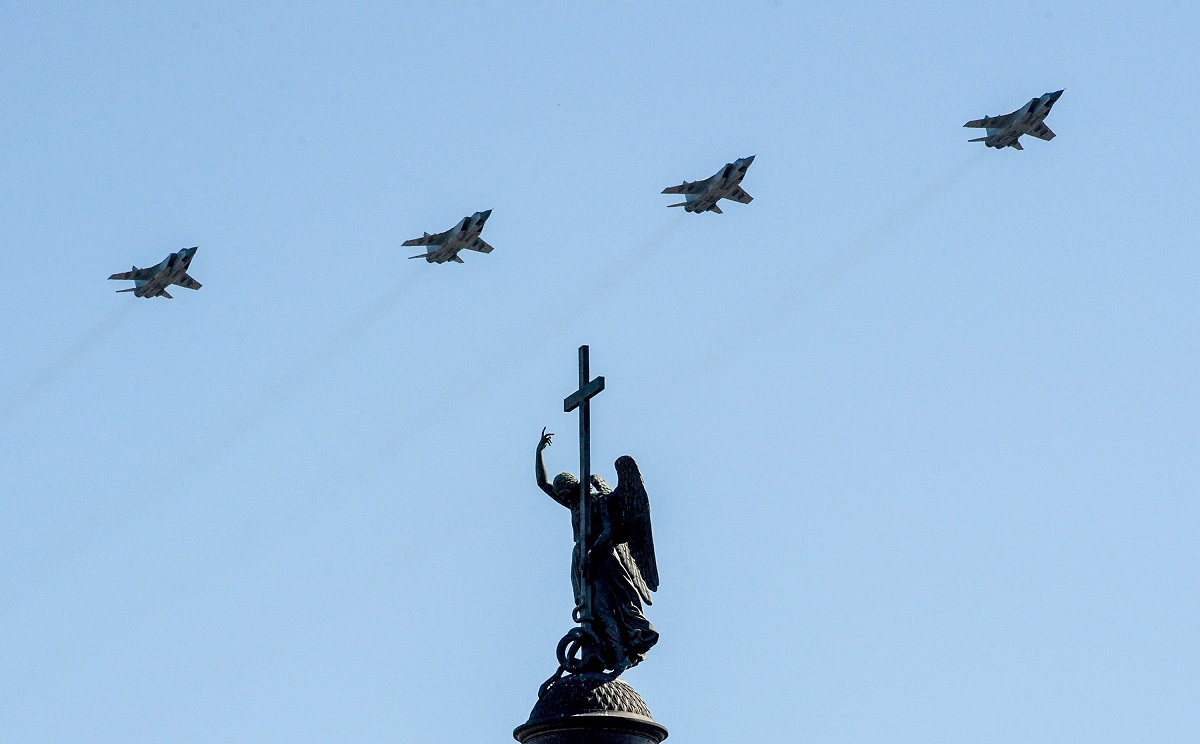 Russian military planes fly over Dvortsovaya Square during the Victory Day parade in Saint Petersburg on May 9, 2018. (Olga Maltseva/AFP via Getty Images)