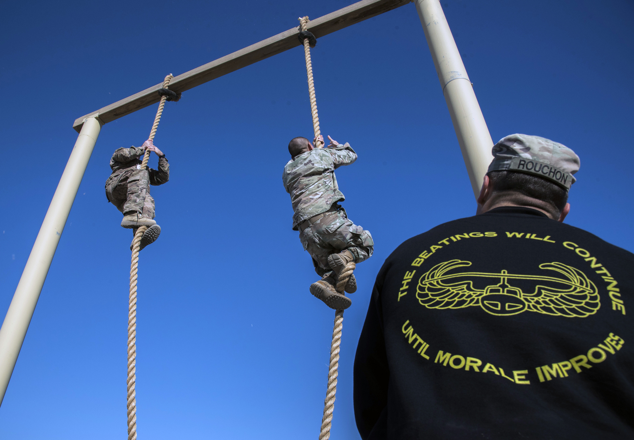 Nearly 130 U.S. soldiers assigned to the 155th Armored Brigade Combat Team, Mississippi Army National Guard, participated in a pre-Air Assault Course at Camp Buehring, Kuwait, Jan. 20, 2019. (Staff Sgt. Michael Williams/Army National Guard)