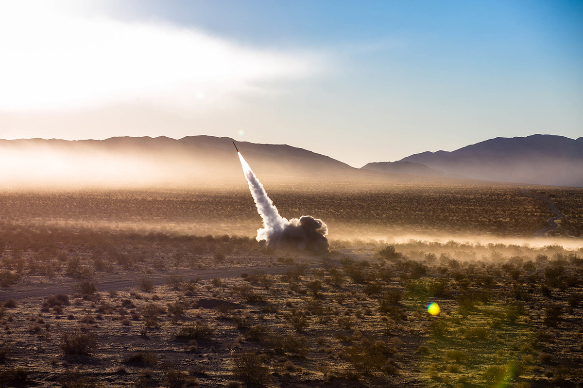 Marines launch the High Mobility Artillery Rocket System from a Guided Multiple Launch Rocket System during Operation Steel Knight aboard the Marine Corps Air Ground Combat Center, Twentynine Palms, California, Dec. 7, 2017. (Pfc. William Chockey/Marine Corps)
