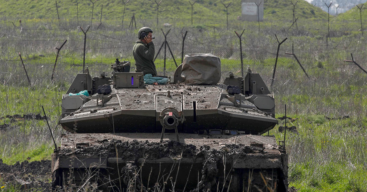 An Israeli army Merkava IV battle tank is seen in the Israeli-annexed Golan Heights on the border with Syria on February 24, 2020. (JALAA MAREY/AFP via Getty Images)