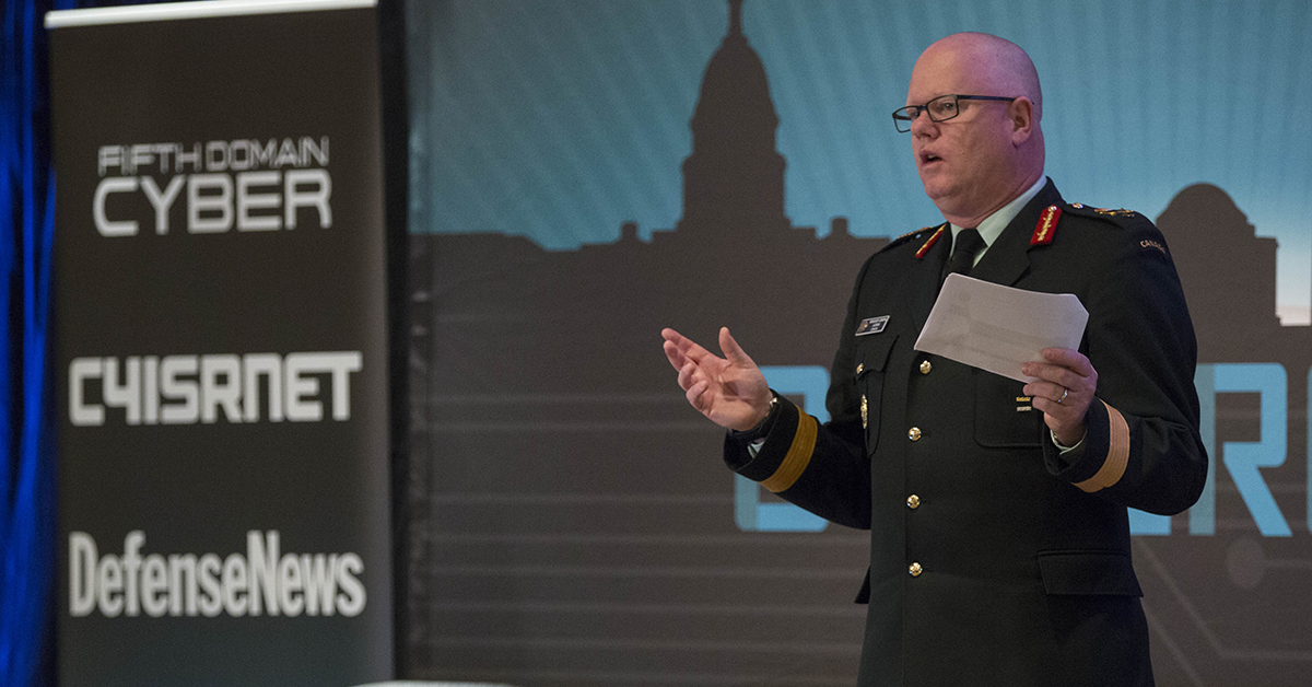 Brig. Gen. S.M. Lacroix, Director General of the Secretariat of the Inter-American Defense Board, gives keynote speech asserting the importance of globally minded cybersecurity measures at Cybercon 2017 at the Ritz-Carlton Hotel in Pentagon City on Nov. 28, 2017. ( Ben Murray/Staff)