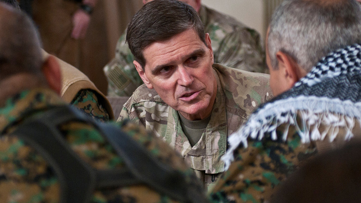 U.S. Army Gen. Joseph Votel, commander of U.S. Central Command, talks to Gen. Chiya, commander of Syrian Democratic Forces in Syria's Middle Euphrates River Valley, during a meeting in Dawr Az Zawr Province, April 22, 2018. (Staff Sgt. Timothy R. Koster/Army)
