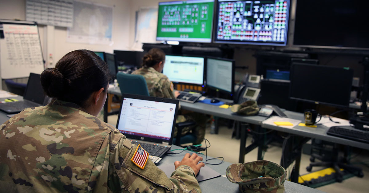 Soldiers assigned to the 44th Expeditionary Signal Battalion, 2nd Theater Signal Brigade, monitor the network at Lightning Ops, the Theater Network Operations Center for Exercise Saber Guardian 17, June 27, 2017, at at Mihail Kogalniceanu Air Base, Romania. (William B. King/Army)