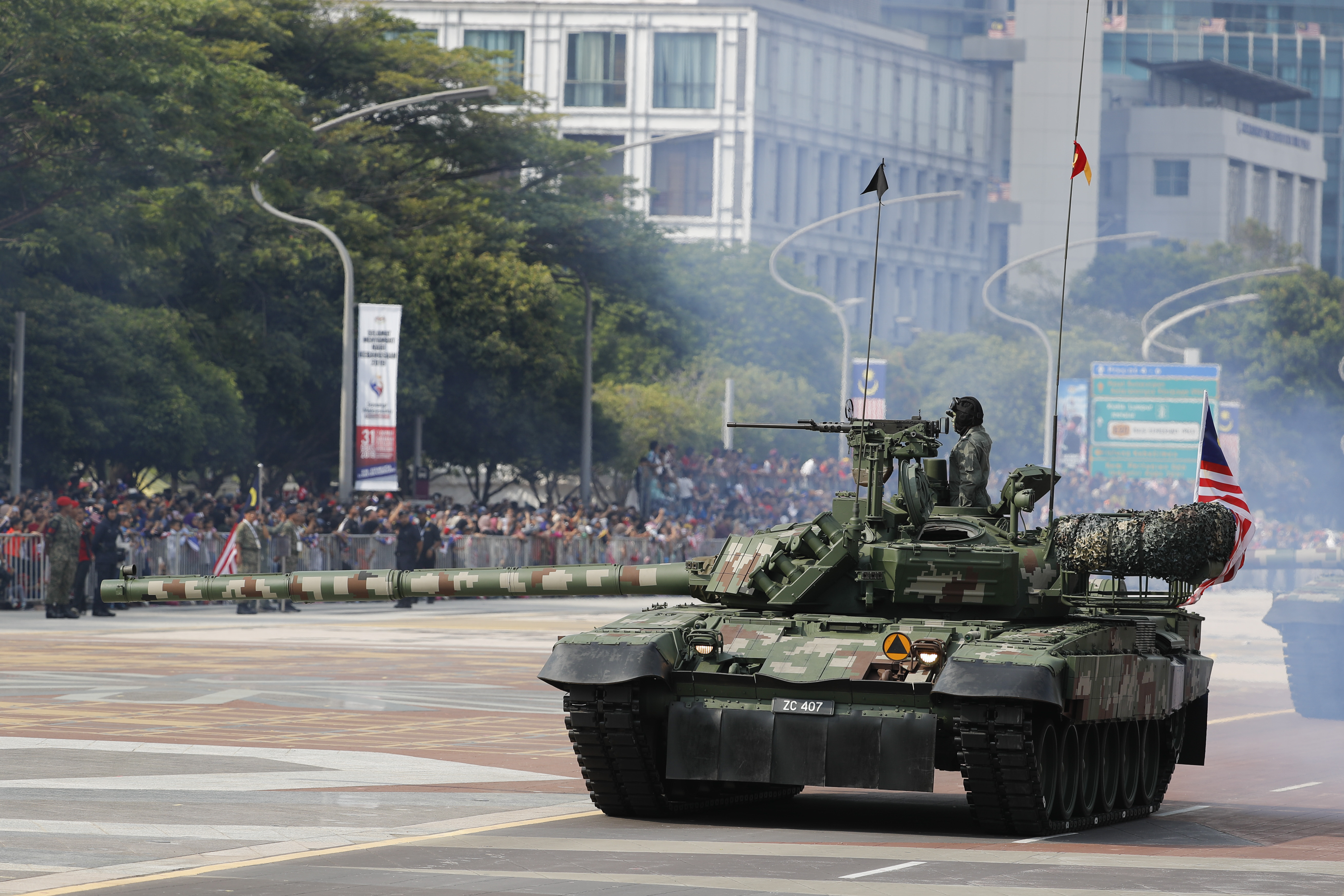 Malaysian military personnel take part in the 62nd Independence Day celebrations parade in Putrajaya, Malaysia Saturday, Aug. 31, 2019. The Federation of Malaya gained its independence from Britain on Aug. 31, in 1957. (AP Photo/Vincent Thian)