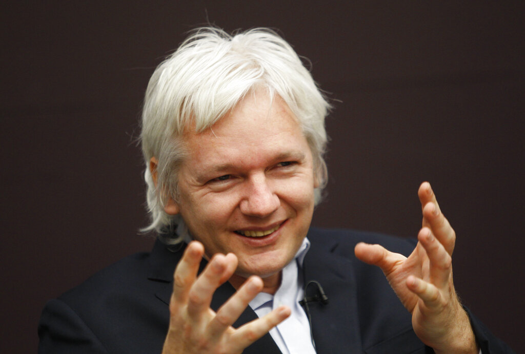 WikiLeaks founder Julian Assange speaks during a 2011 London news conference. (Lefteris Pitarakis/AP)