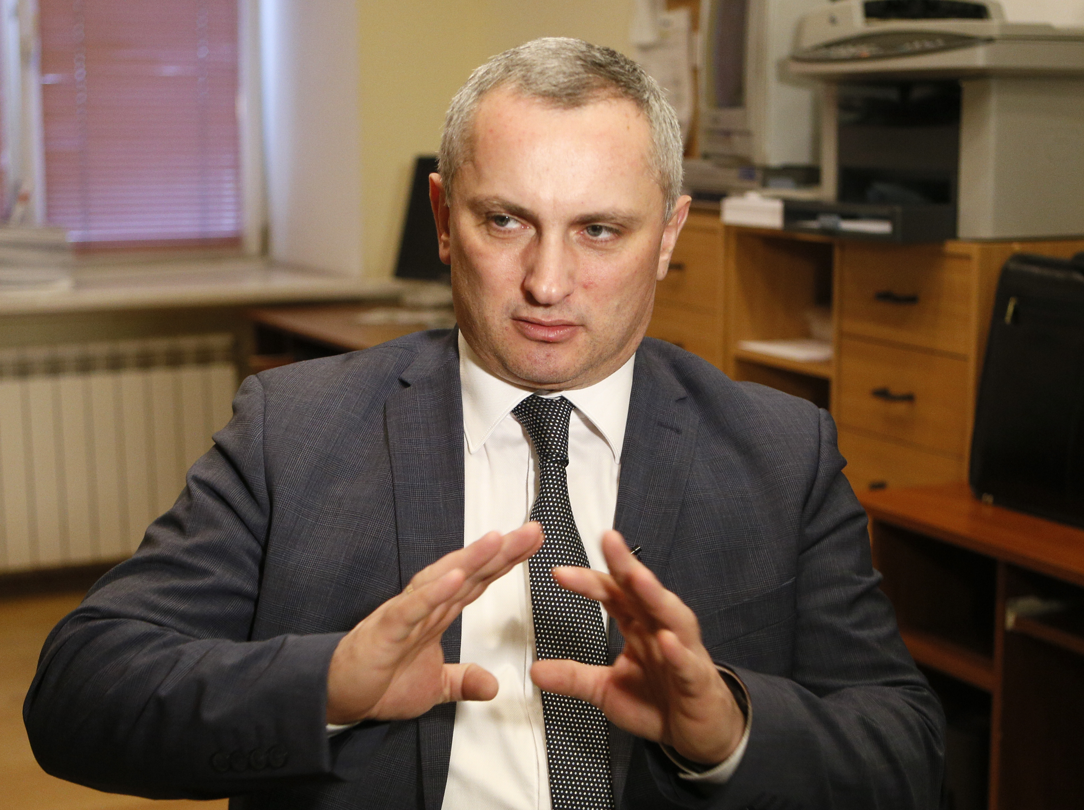In this photo taken on Tuesday, Feb. 12, 2019, Serhii Demediuk, the head of Ukraine's national CyberPolice unit, talks during an interview with The Associated Press in Kiev, Ukraine, Tuesday, Feb. 12, 2019. Russian hackers are intensifying attacks on the eve of presidential elections in Ukraine, according to the head of Ukraine's cyberpolice Serhii Demediuk. (Efrem Lukatsky/AP)