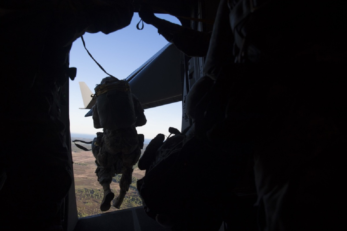 A U.S. Army paratrooper jumps from a C-17 Globemaster III over Latvia during Exercise Swift Response 18 on June 8. (U.S. Air Force)