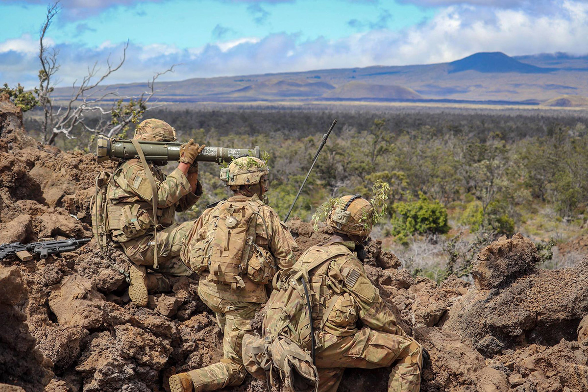 Soldiers conduct platoon live-fire training April 3, 2019, at the Pohakuloa Training Area, Hawaii. (Spc. Geoff Cooper/Army)