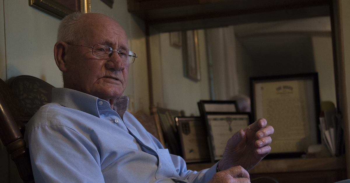 Jack Baker served with First Army from D-Day until the last day of the conflict. (Staff Sgt. Darron Salzer/Army)