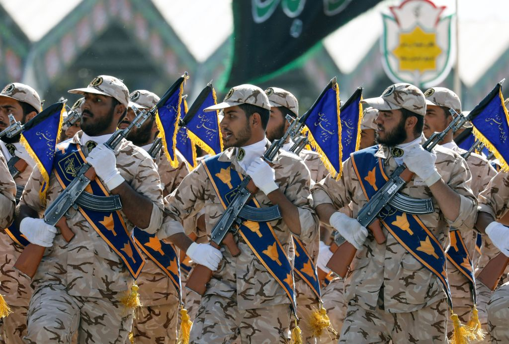 Iranian soldiers march during the annual military parade marking the anniversary of the outbreak of its devastating 1980-1988 war with Saddam Hussein's Iraq, on Sept. 22,2017, in Tehran. (AFP via Getty Images)