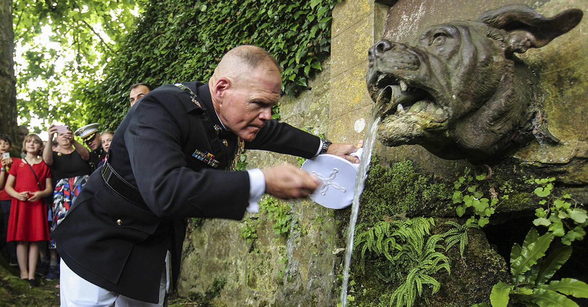 Marine Corps Commandant Gen. Robert Neller drinks from Bulldog Fountain after a ceremony at the Aisne-Marne Cemetery, Belleau, France. The ceremony honored the 100th anniversary of the Battle of Belleau Wood during World War I. (Sgt. Olivia G. Ortiz/Marine Corps)