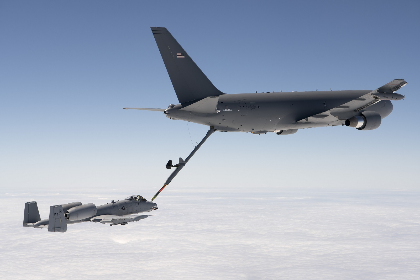 A KC-46, left, refuels an A-10 during testing. (Courtesy of Boeing)