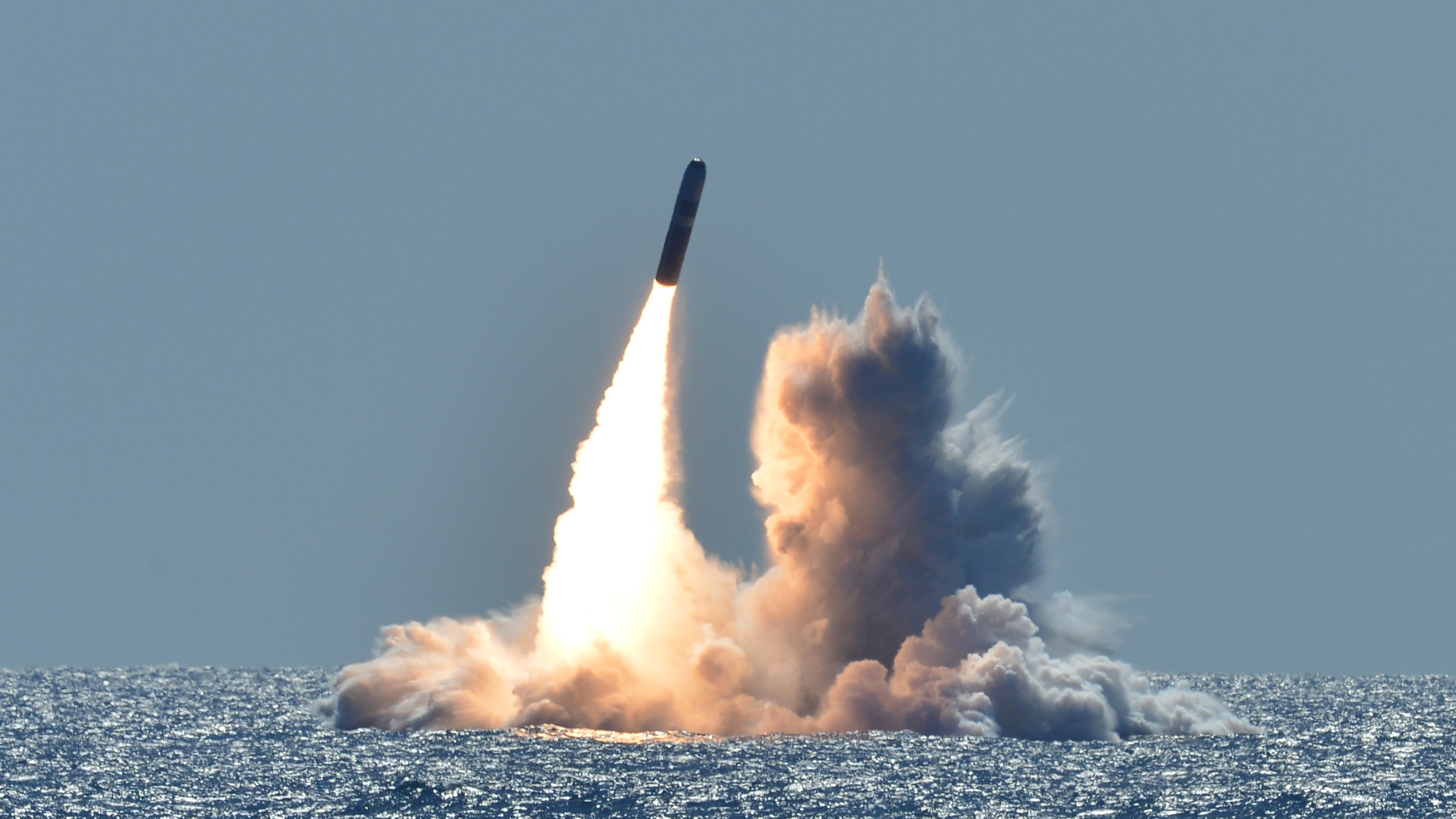 An unarmed Trident II D5 missile launches from the Ohio-class ballistic missile submarine USS Nebraska off the coast of California on March 26, 2008. (U.S. Navy photo by Mass Communication Specialist 1st Class Ronald Gutridge/Released)