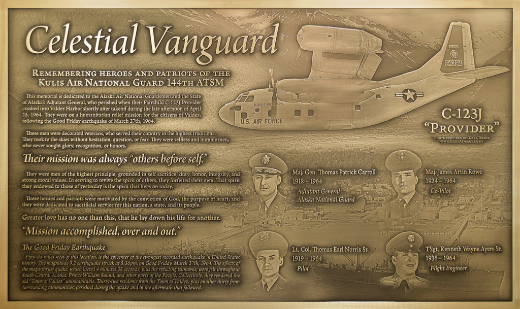 This photo provided by Innovative Signs, Inc. in Longwood, Fla., in June 2018, shows a memorial plaque that was dedicated Saturday, June 23, 2018, in Valdez, Alaska. It honors four Alaska Air National Guard members who died in a plane crash while conducting a humanitarian mission following a devastating magnitude 9.2 earthquake which destroyed Valdez in March 1964. (Photo courtesy Innovate Signs, Inc. via AP)