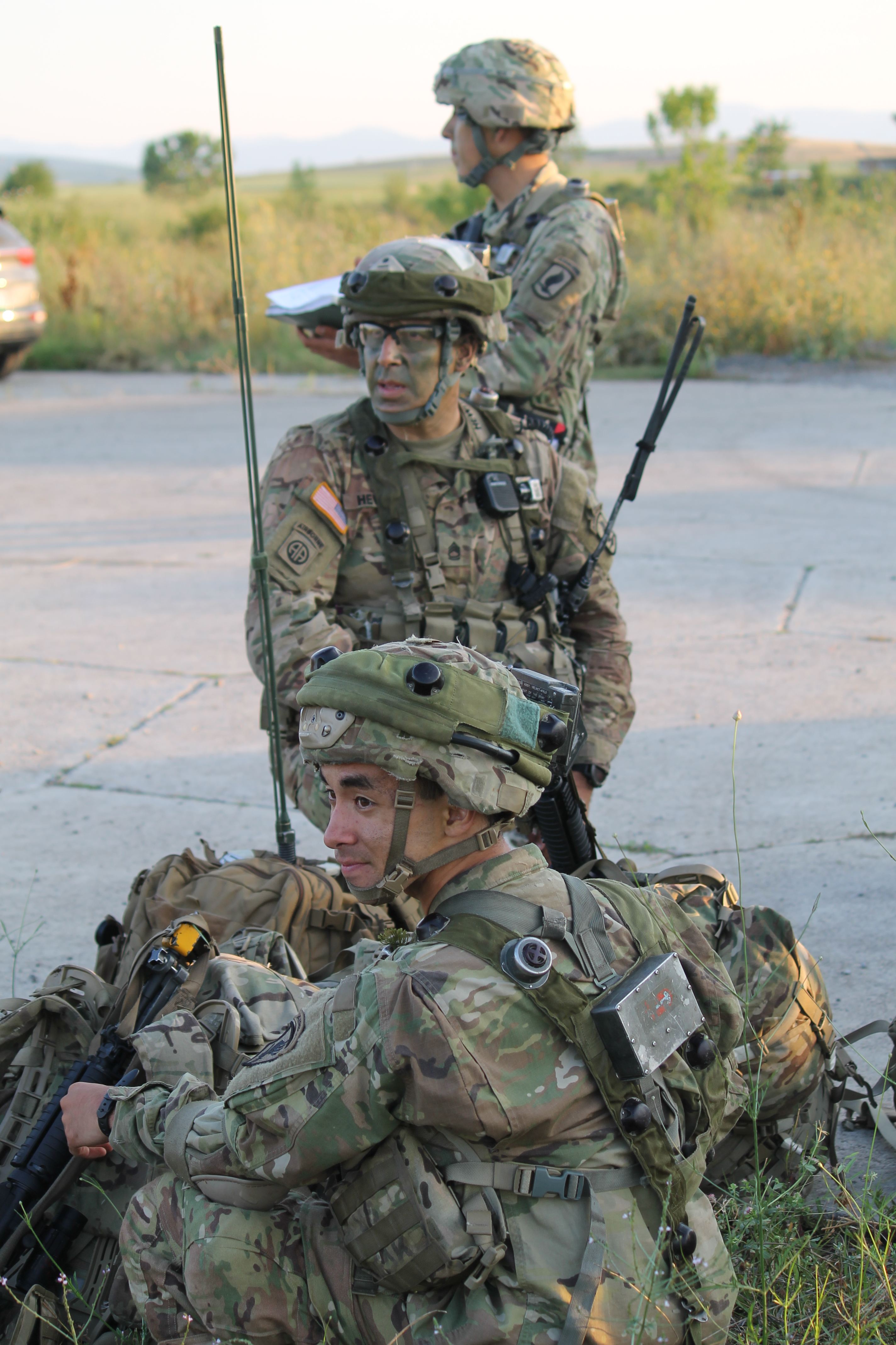 Soldiers prep their communications equipment for the mission at Bezmer Air Base, Bulgaria. (Jen Judson/Staff)
